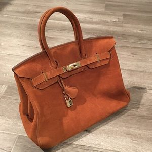 """Suede """"Birkin"""" style handbag"""